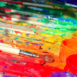 kid paint, red, orange, yellow, green, blue, kid art, children't art studio
